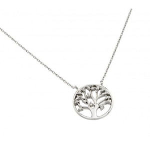 .925 Sterling Silver Rhodium Plated Tree Necklace
